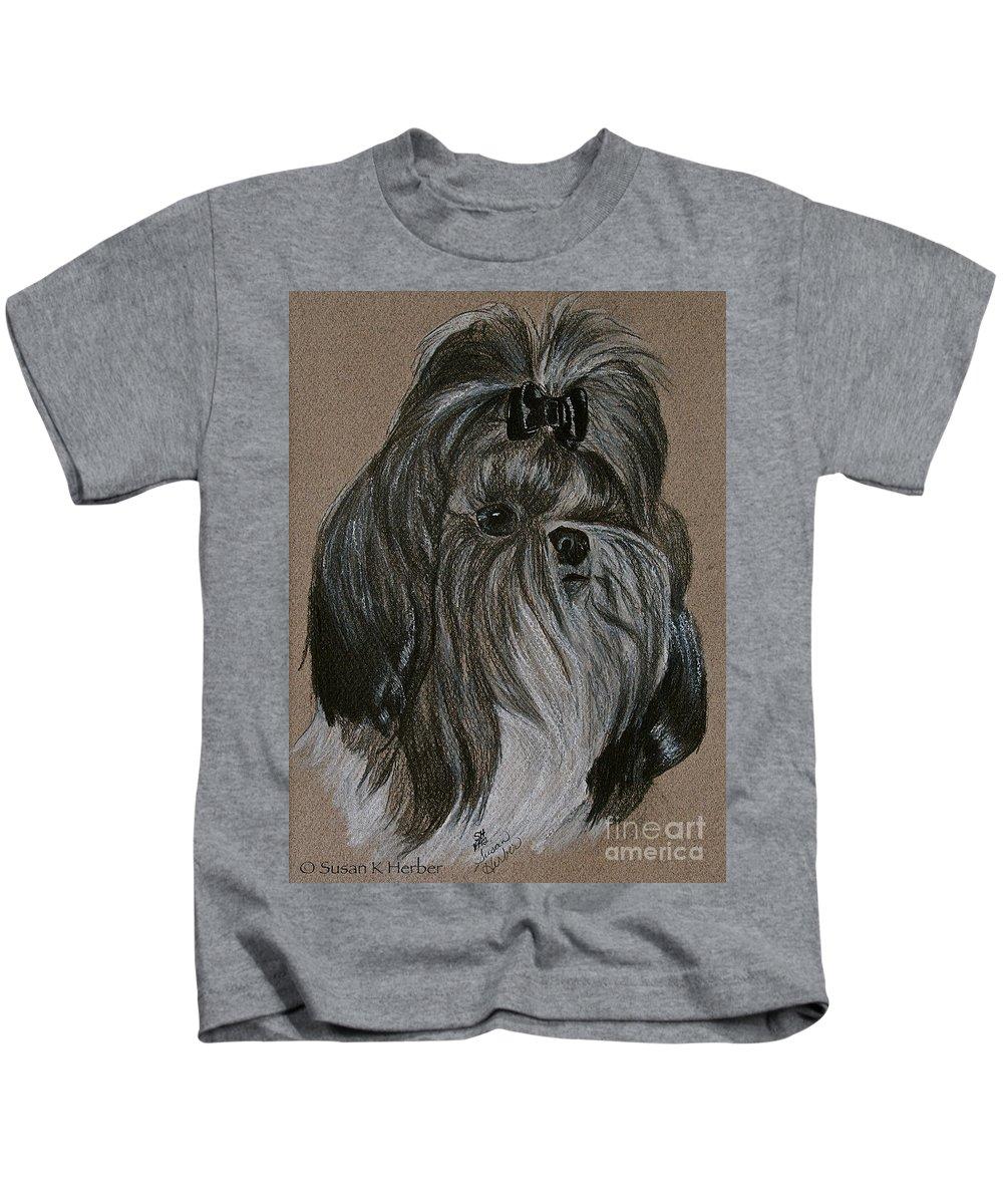Shih Tzu Kids T-Shirt featuring the drawing Shih Tzu by Susan Herber