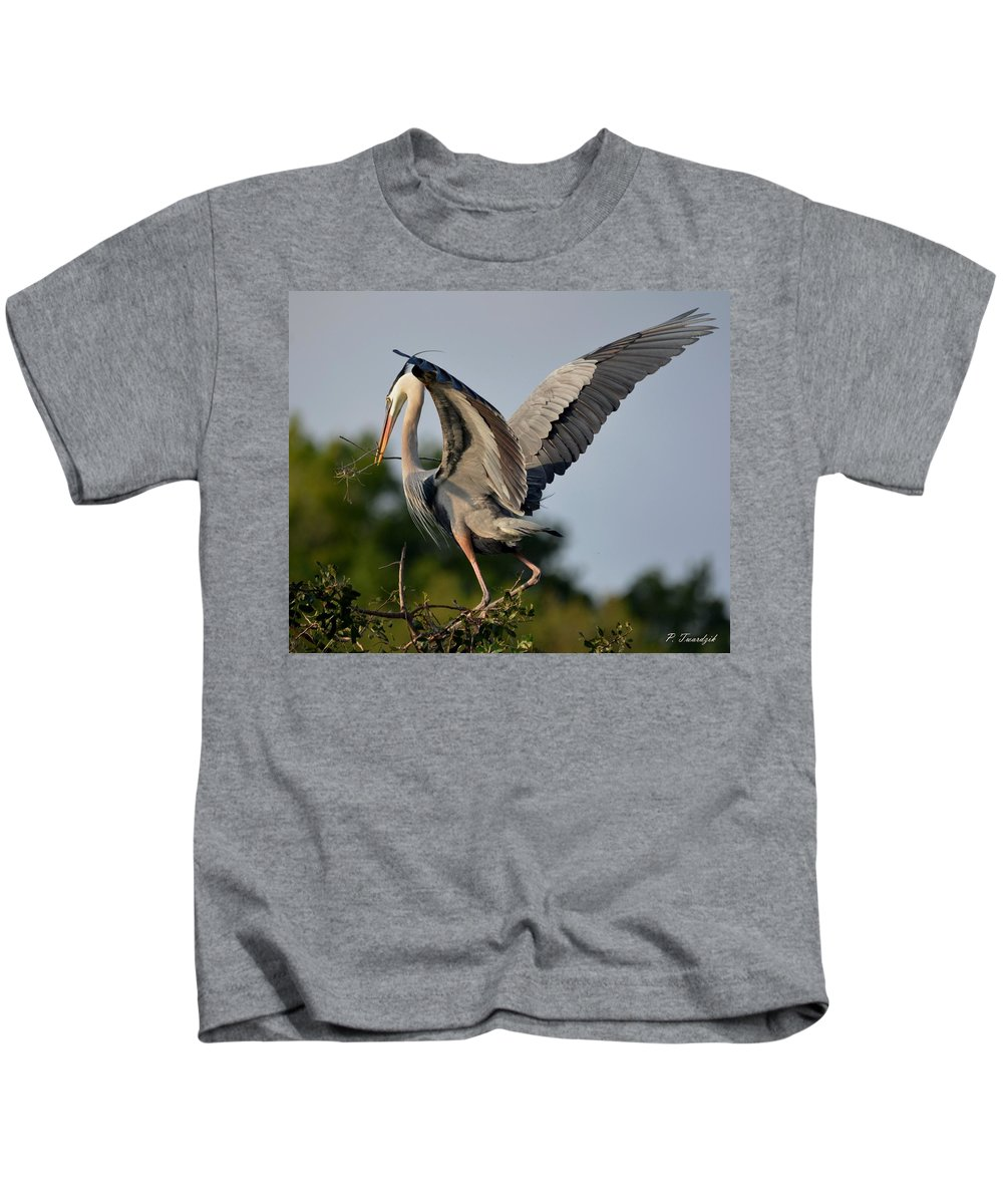 Great Blue Heron Kids T-Shirt featuring the photograph Showing Off The Blue by Patricia Twardzik