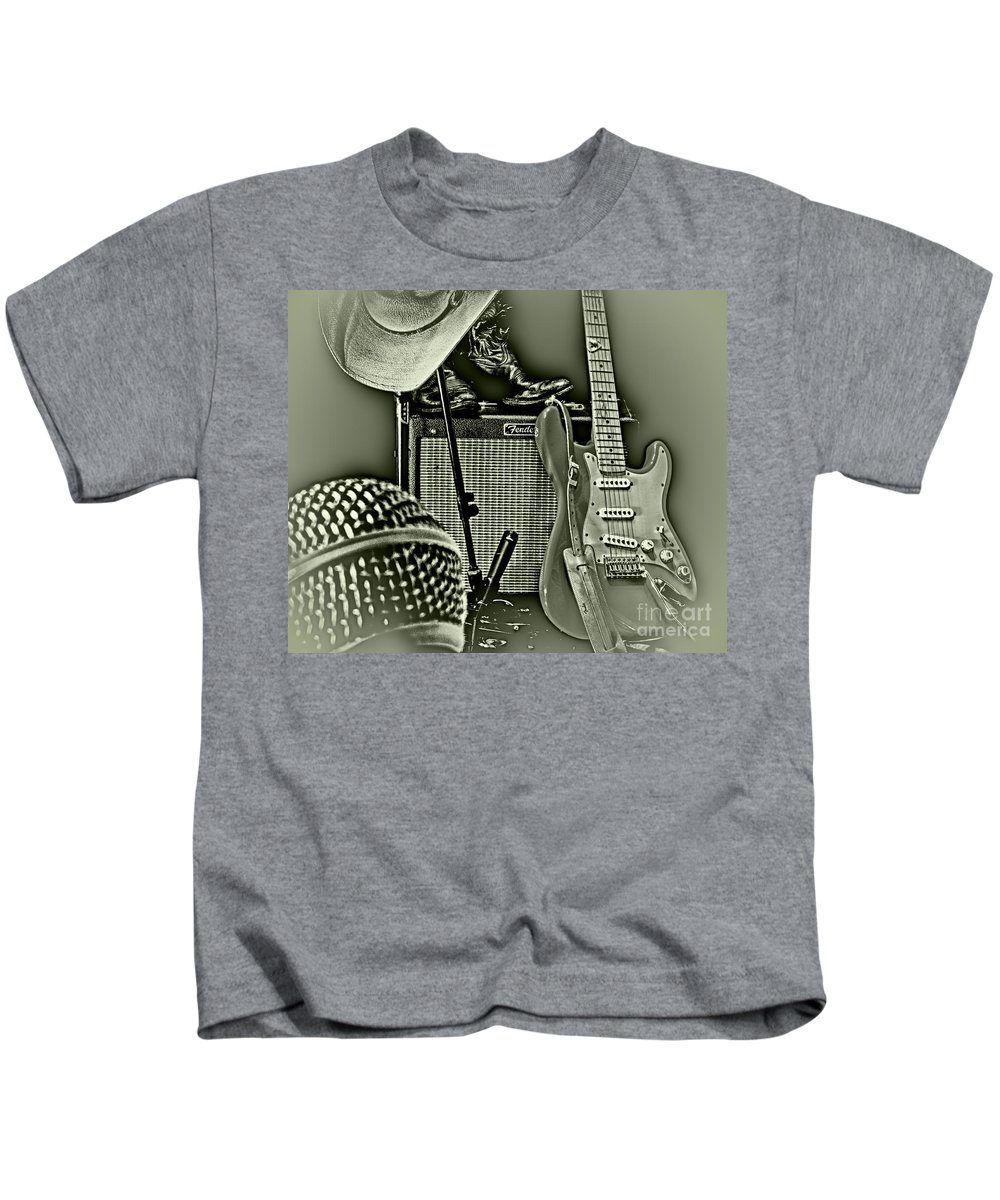 Music Kids T-Shirt featuring the photograph Show's Over - B W by Robert Frederick