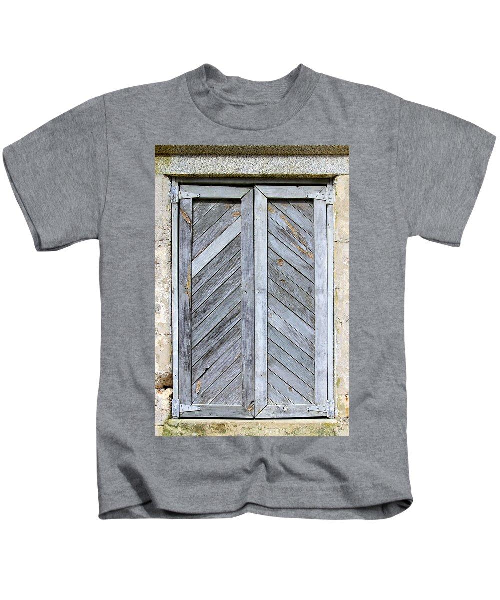 Wood Kids T-Shirt featuring the photograph Weathered Wooden Shutters by Bob Slitzan