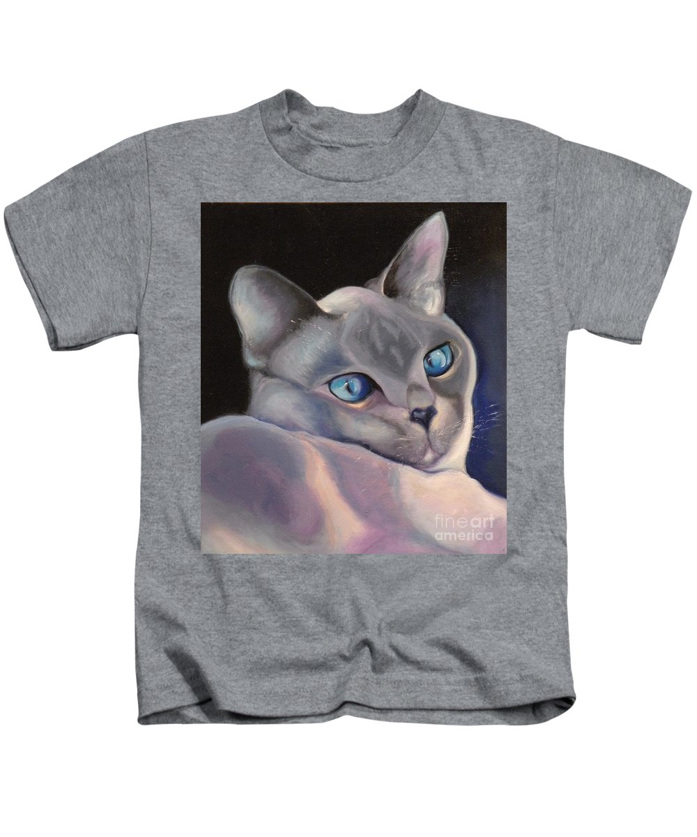 Cat Siamese Greeting Card Kids T-Shirt featuring the painting Siamese In Blue by Susan A Becker