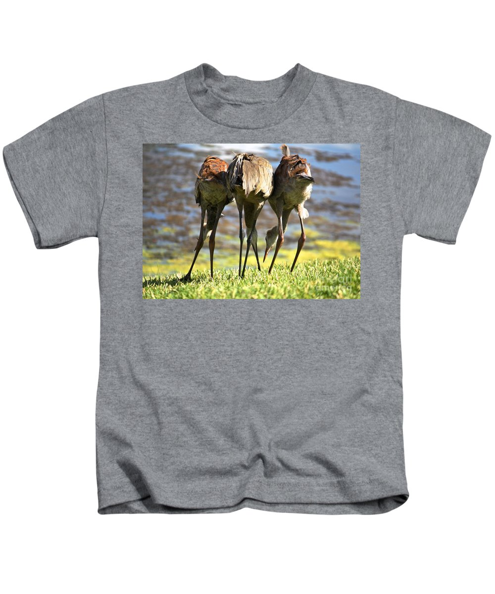 Bird Kids T-Shirt featuring the photograph Sibling Rivalry 2 by Carol Groenen