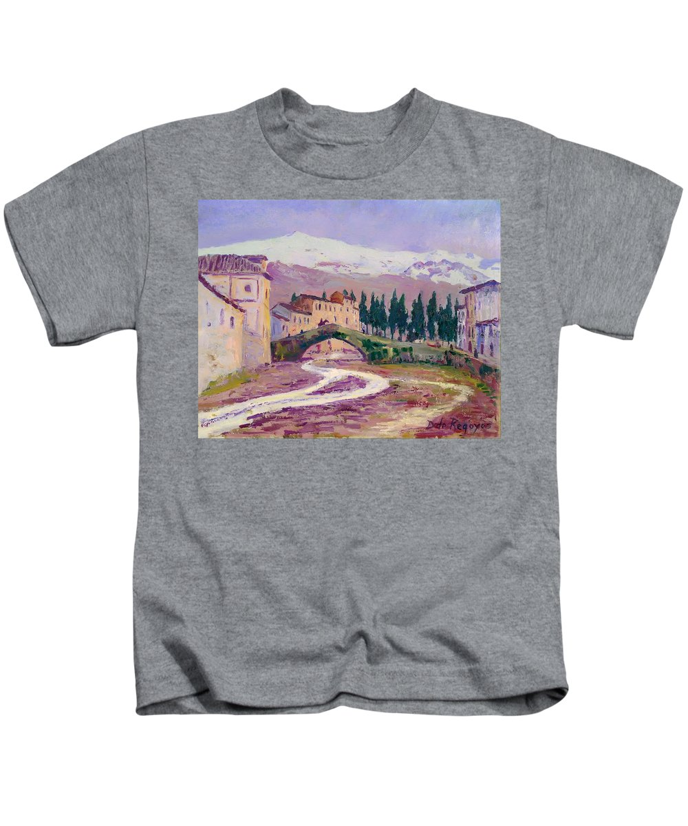 Painting Kids T-Shirt featuring the painting Sierra Nevada by Mountain Dreams
