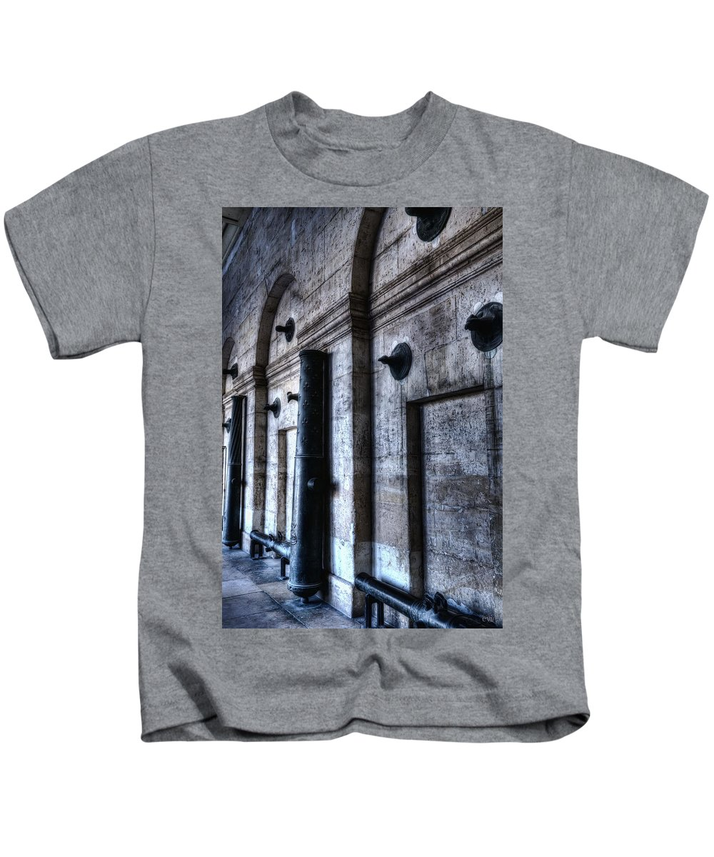 Blue Kids T-Shirt featuring the photograph Silent Cannons by Evie Carrier