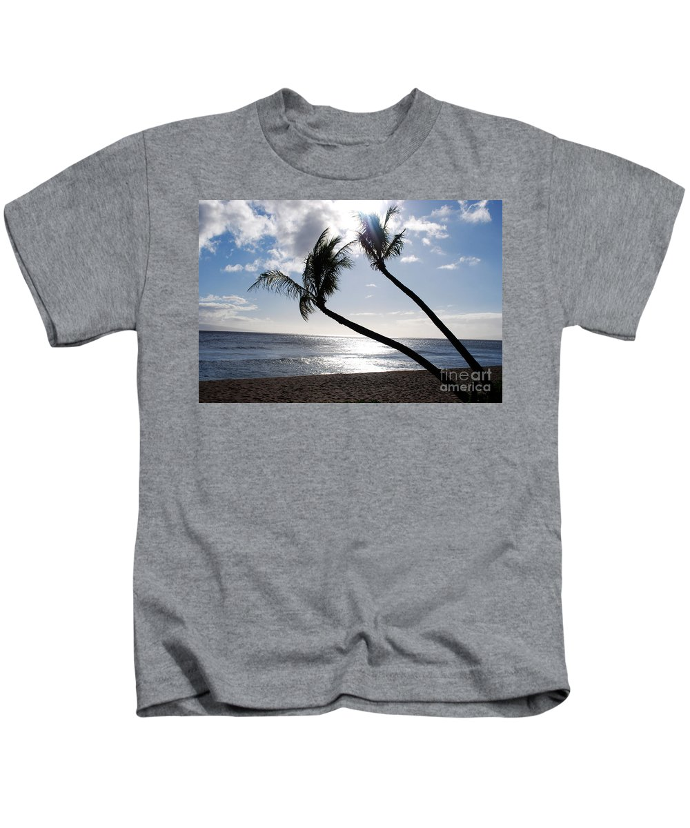 Palm Tree Kids T-Shirt featuring the photograph Silhouetted Palm Trees On Maui Beach by DejaVu Designs