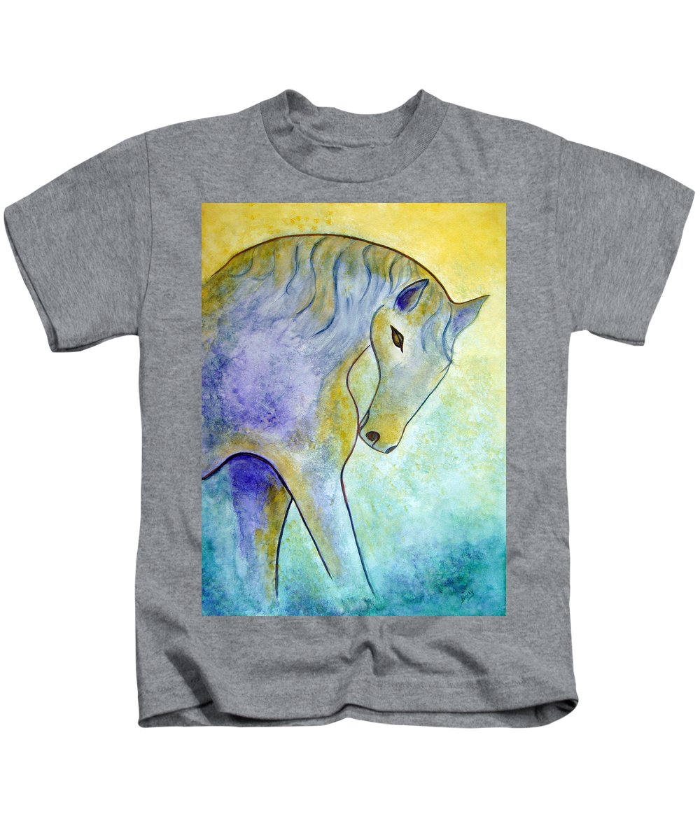 Modern Kids T-Shirt featuring the painting Silver by Donna Blackhall