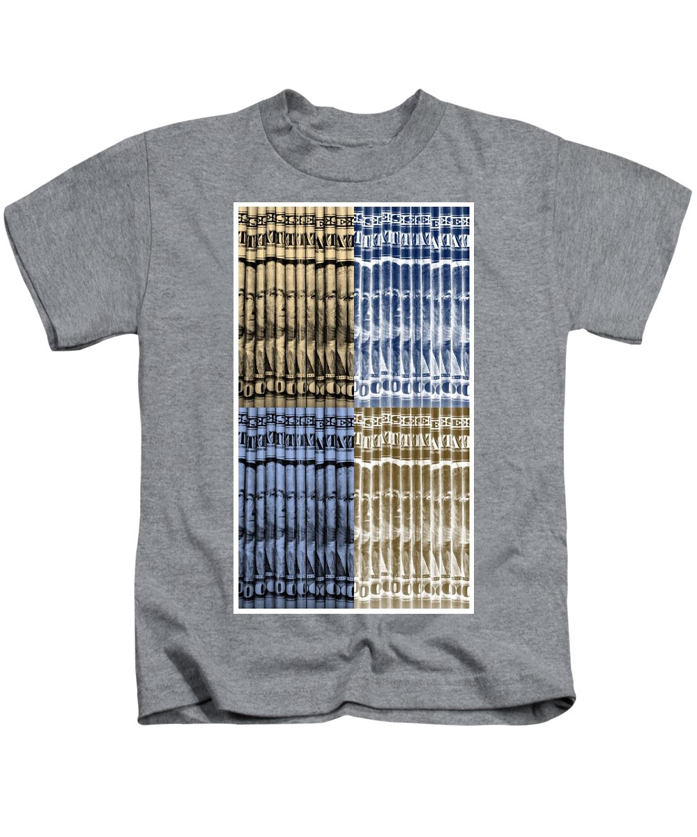 Money Kids T-Shirt featuring the photograph Singles In Gold And Blue by Rob Hans