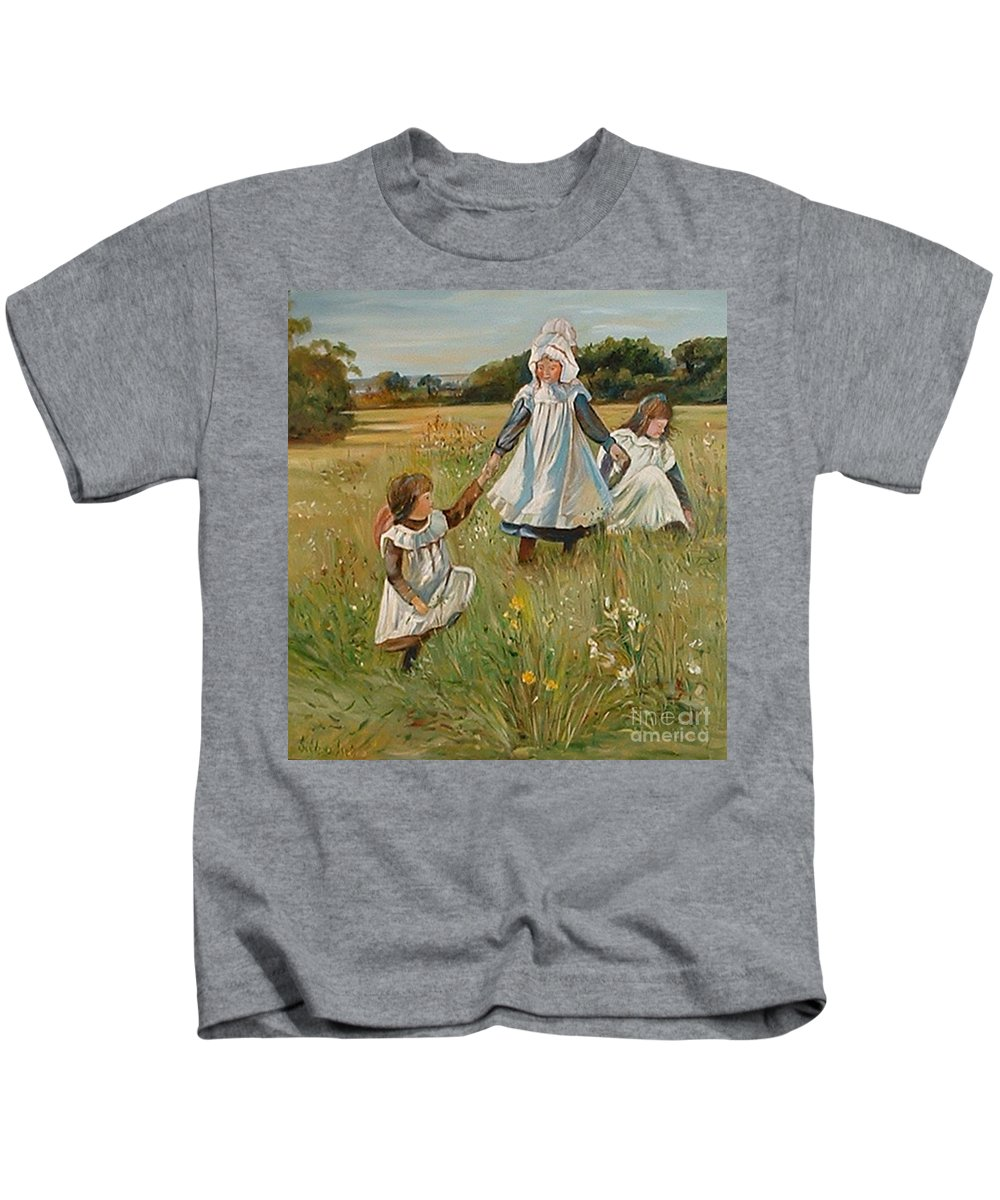 Classic Art Kids T-Shirt featuring the painting Sisters by Silvana Abel
