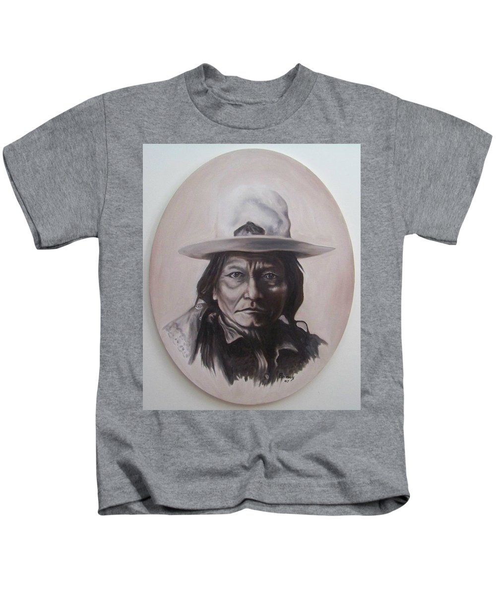 Michael Kids T-Shirt featuring the painting Sitting Bull by Michael TMAD Finney
