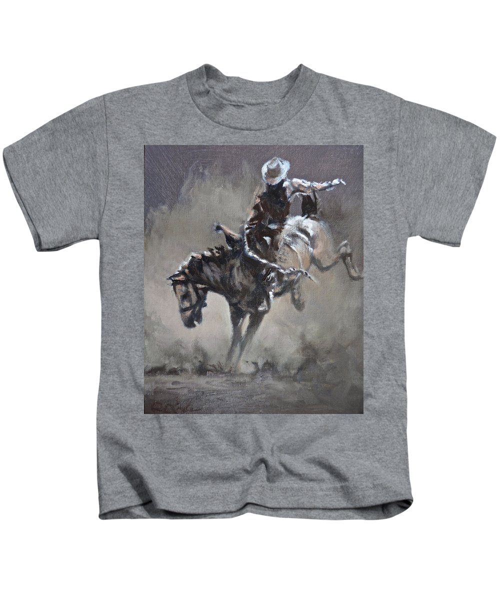 Rodeo Kids T-Shirt featuring the painting Slapping Leather by Mia DeLode