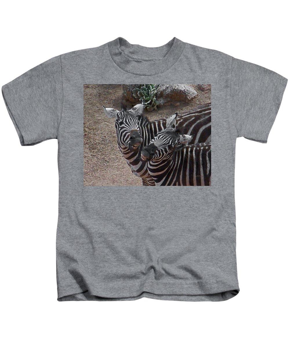 Zebras Kids T-Shirt featuring the digital art Smiling Zebras by Ernie Echols