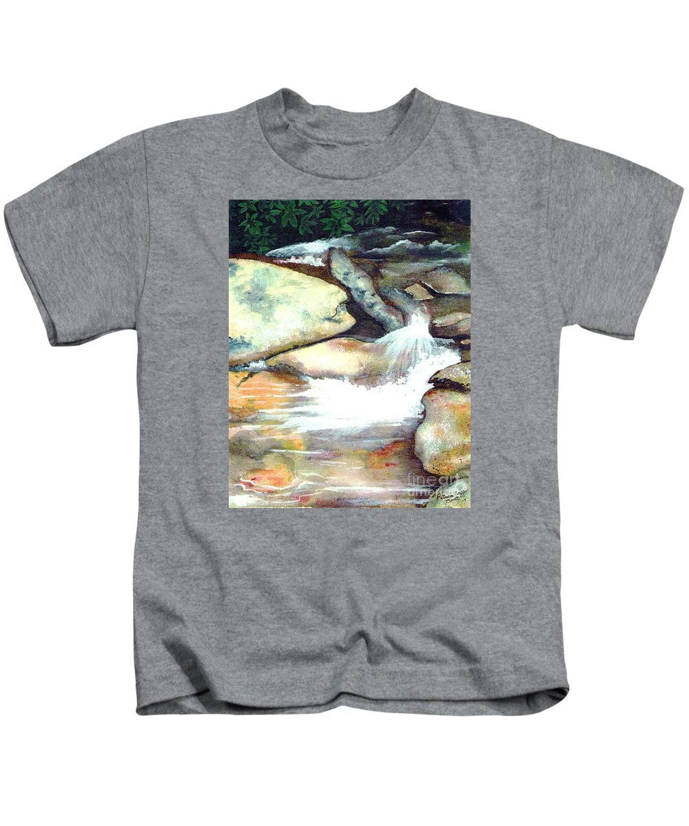 Fine Art Kids T-Shirt featuring the painting Smoky Mountains Waterfall by Patricia Griffin Brett