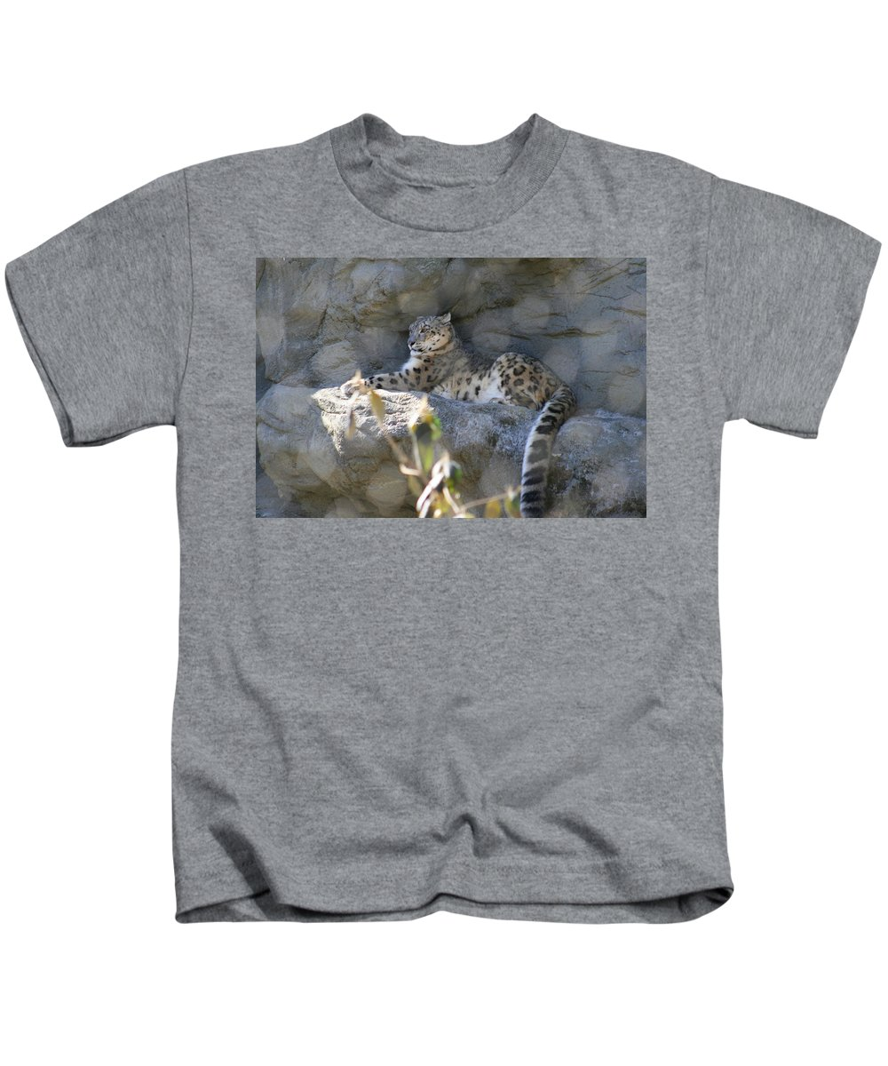 Leopard Kids T-Shirt featuring the photograph Snow Leopard  No.2 by Neal Eslinger