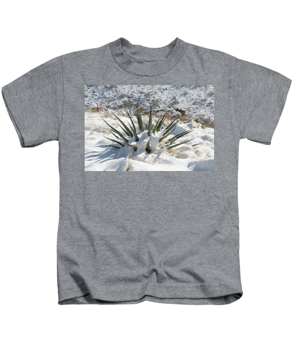 David S Reynolds Kids T-Shirt featuring the photograph Snow Spines by David S Reynolds