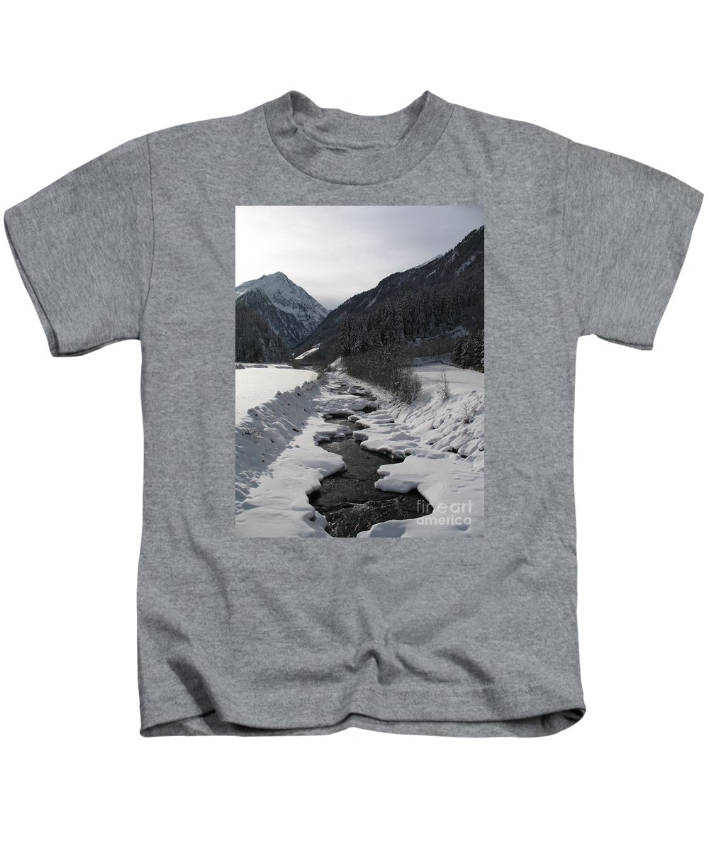 Creek Kids T-Shirt featuring the photograph Snowy Creek by Christiane Schulze Art And Photography