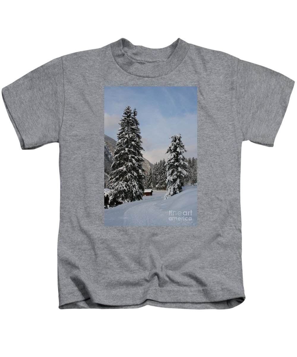 Snow Kids T-Shirt featuring the photograph Snowy Fir Trees by Christiane Schulze Art And Photography