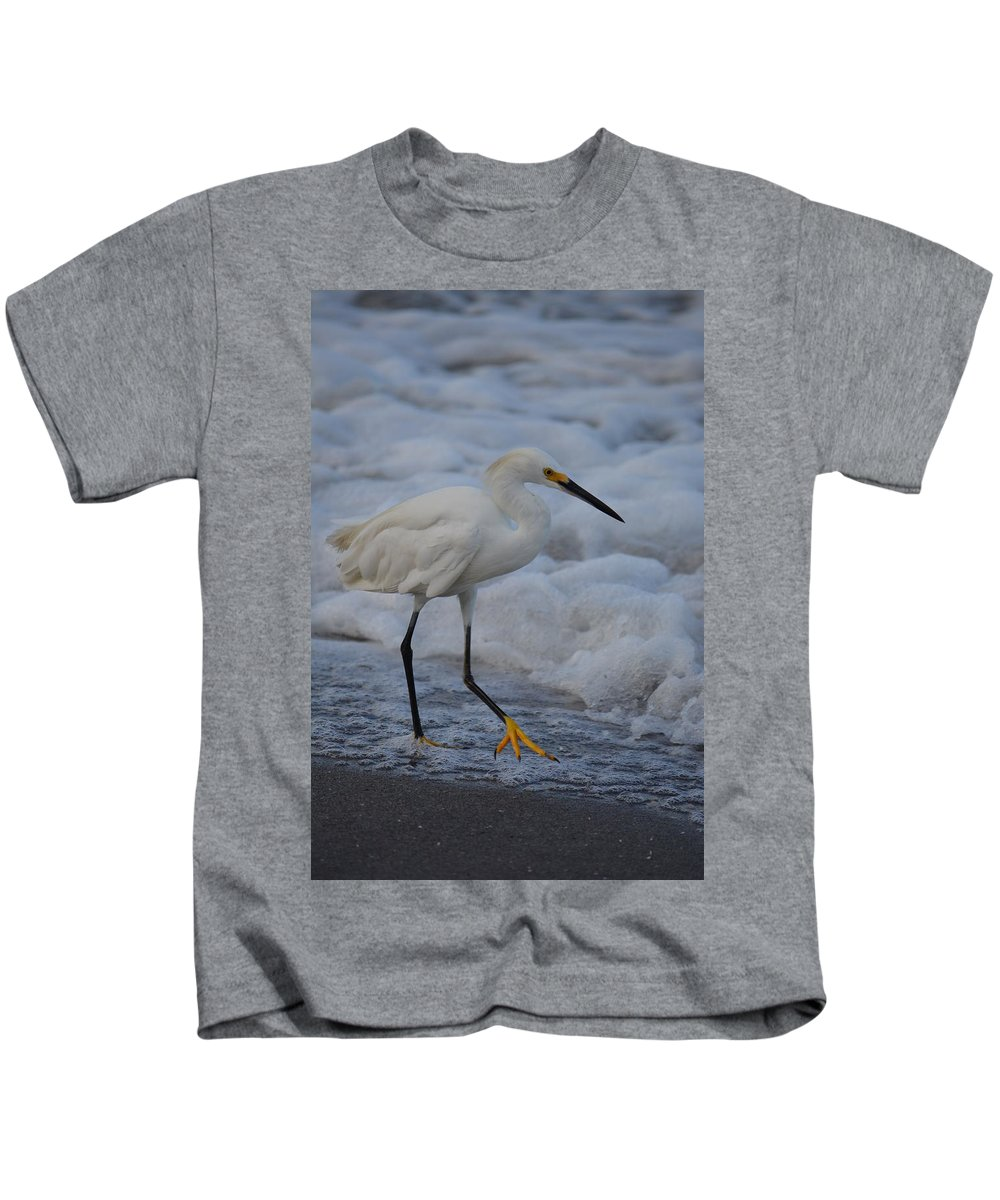 Snowy Kids T-Shirt featuring the photograph Snowy In The Surf by Patricia Twardzik