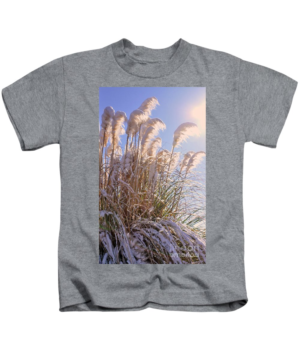 Pampas Kids T-Shirt featuring the photograph Snowy Pampas Grass by Lydia Holly