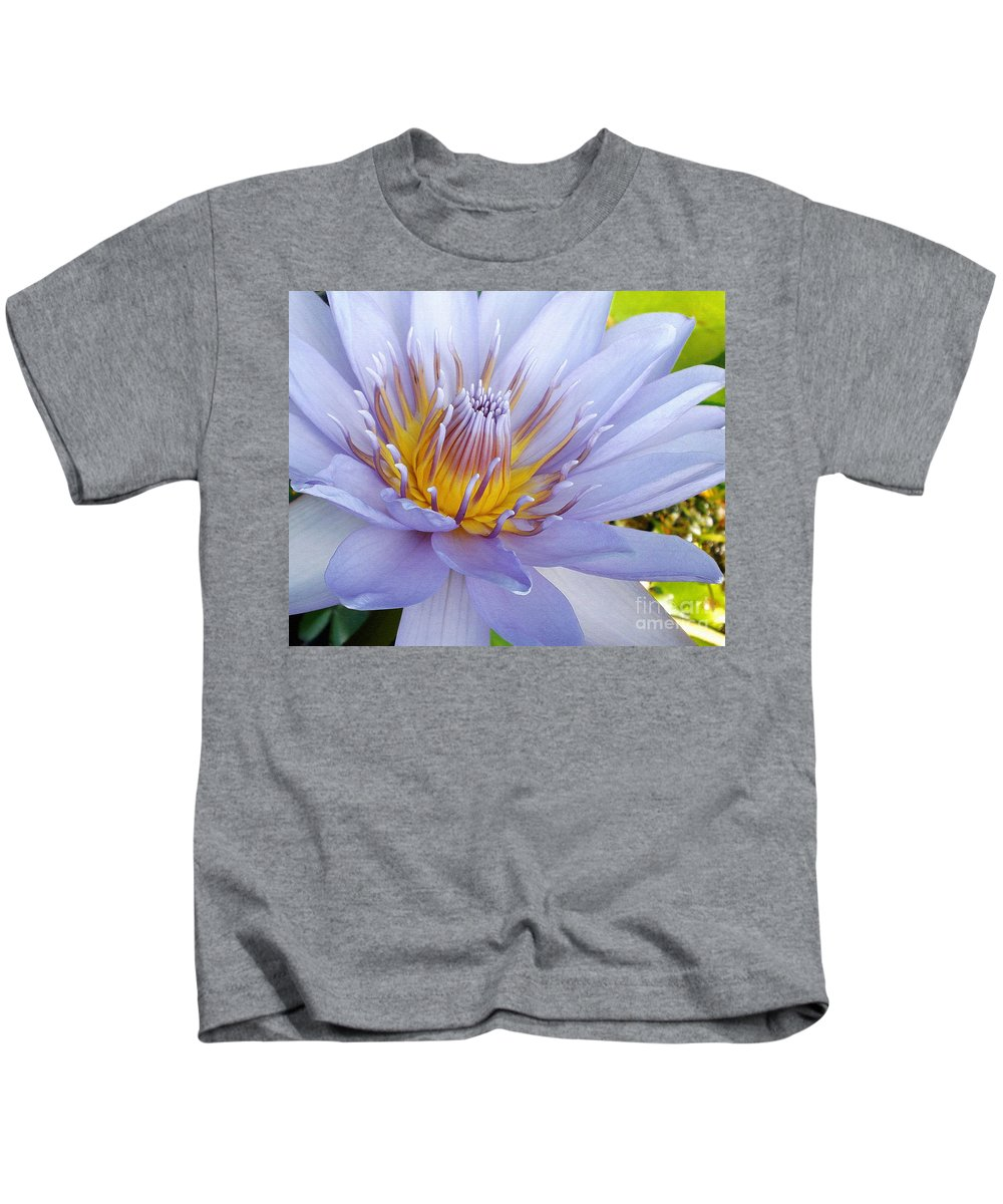 Photography Kids T-Shirt featuring the photograph Soft Mauve Waterlily by Kaye Menner