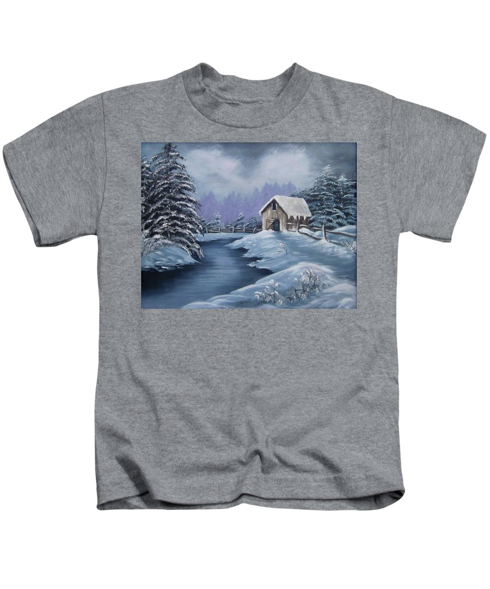 Snow Scene Kids T-Shirt featuring the painting Softest Snow by Cathy Shepard