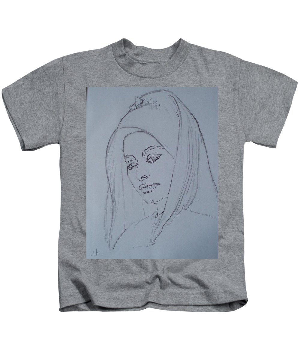 Woman Kids T-Shirt featuring the drawing Sophia Loren In Headdress by Sean Connolly