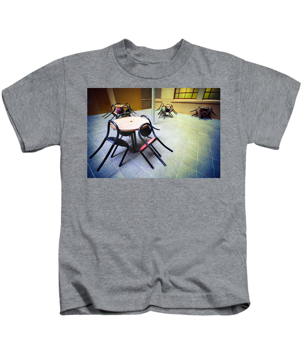 Chairs Kids T-Shirt featuring the photograph Spiders From Mars by Wayne Sherriff