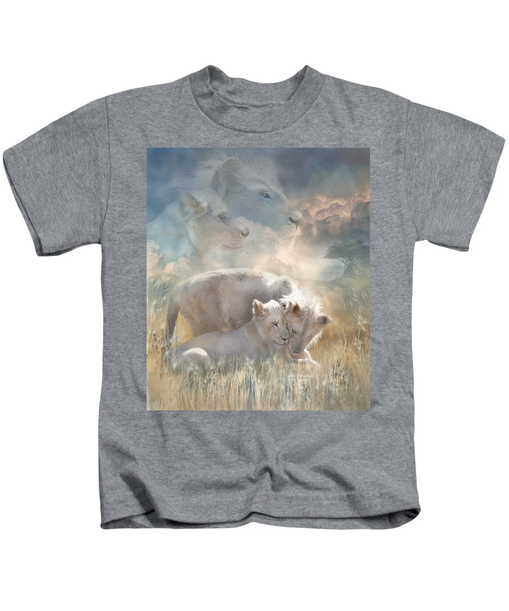 Lion Kids T-Shirt featuring the mixed media Spirits Of Innocence by Carol Cavalaris