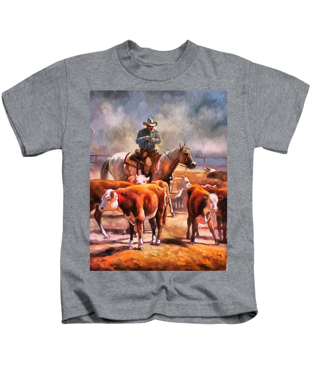 Studio Artist Kids T-Shirt featuring the painting Splitting The Heard by Studio Artist