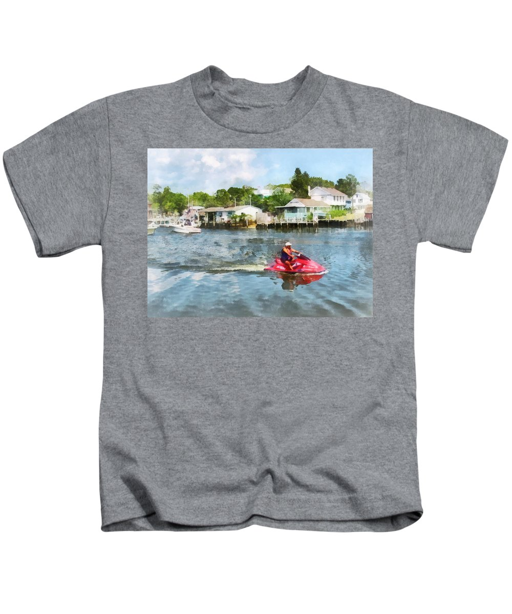 Watersport Kids T-Shirt featuring the photograph Sports - Man On Jet Ski by Susan Savad