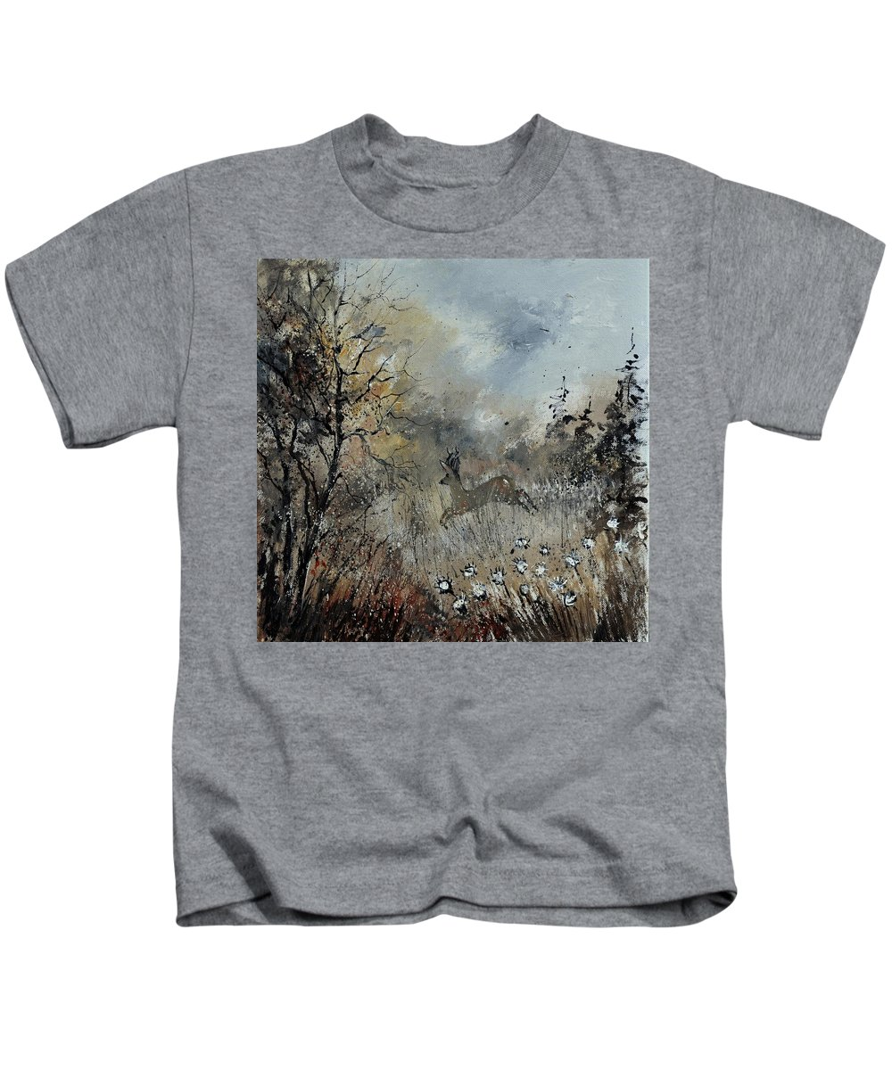 Landscape Kids T-Shirt featuring the painting Spring Roe Deer by Pol Ledent