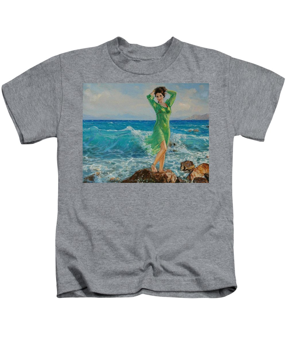 Seascape Kids T-Shirt featuring the painting Spring by Sefedin Stafa