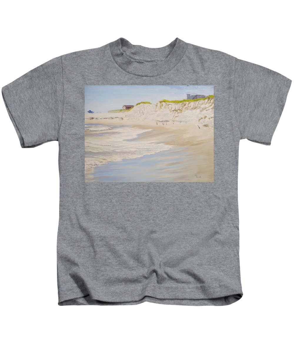 Seascape Kids T-Shirt featuring the painting Spring Tide After Sandy by Lea Novak