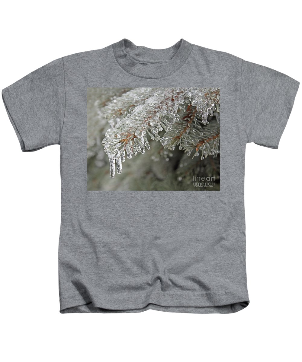 Icycle Kids T-Shirt featuring the photograph Spruce Under Glass by Barbara McMahon