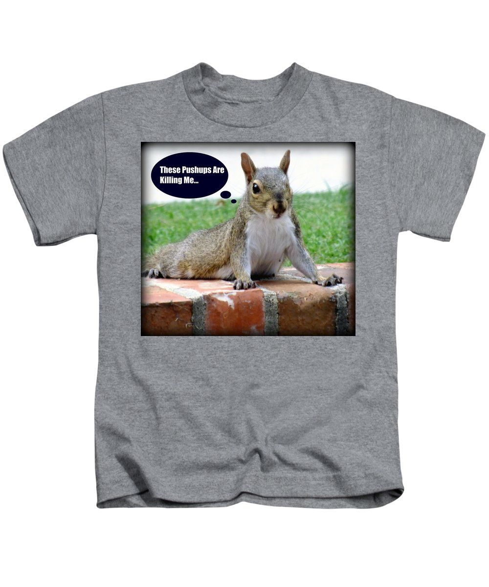 Gym Art Kids T-Shirt featuring the photograph Squirrely Push Ups by Karen Wiles