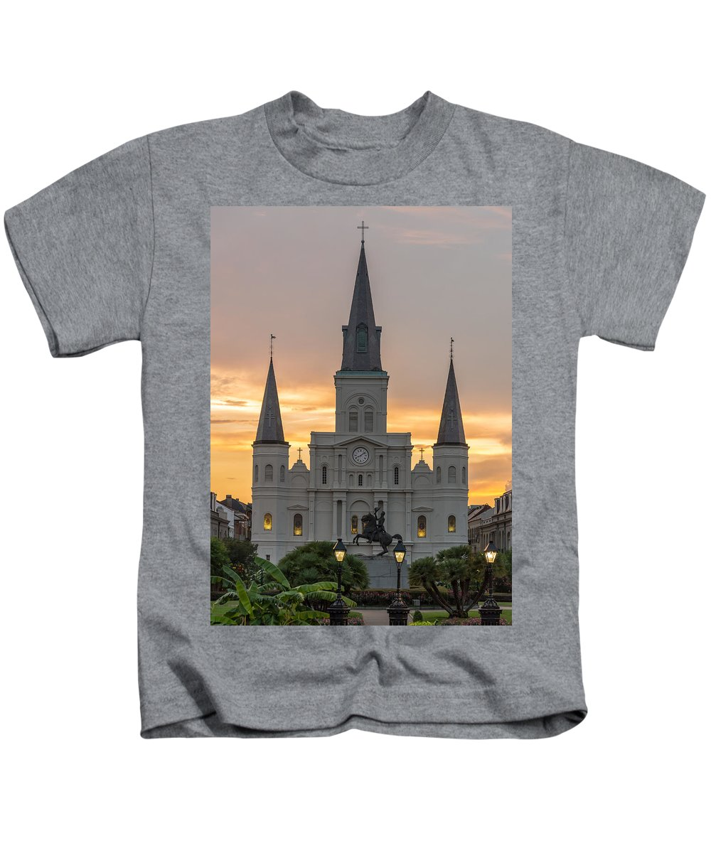 Saint Louis Cathedral New Orleans Photographs Kids T-Shirt featuring the photograph St. Louis Cathedral by James Gamble