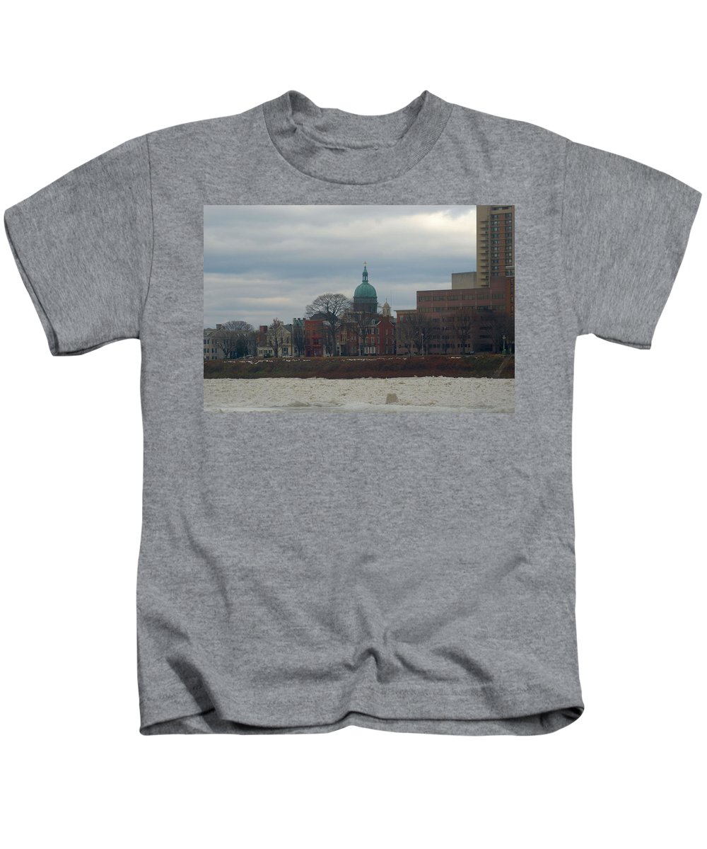 Church Kids T-Shirt featuring the photograph St Patricks In Harrisburg by Rob Luzier