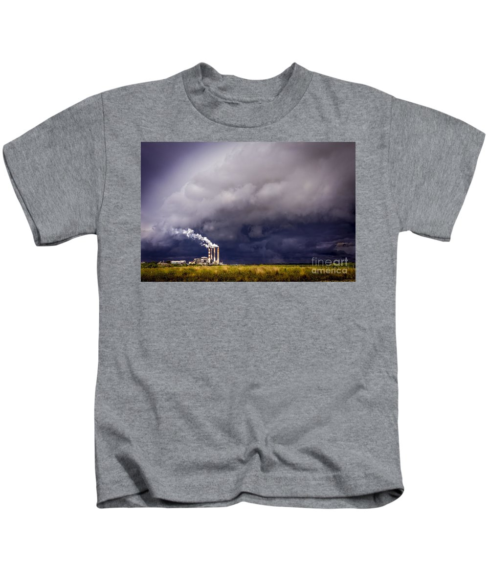 Stacks In The Clouds Kids T-Shirt featuring the photograph Stacks In The Clouds by Marvin Spates