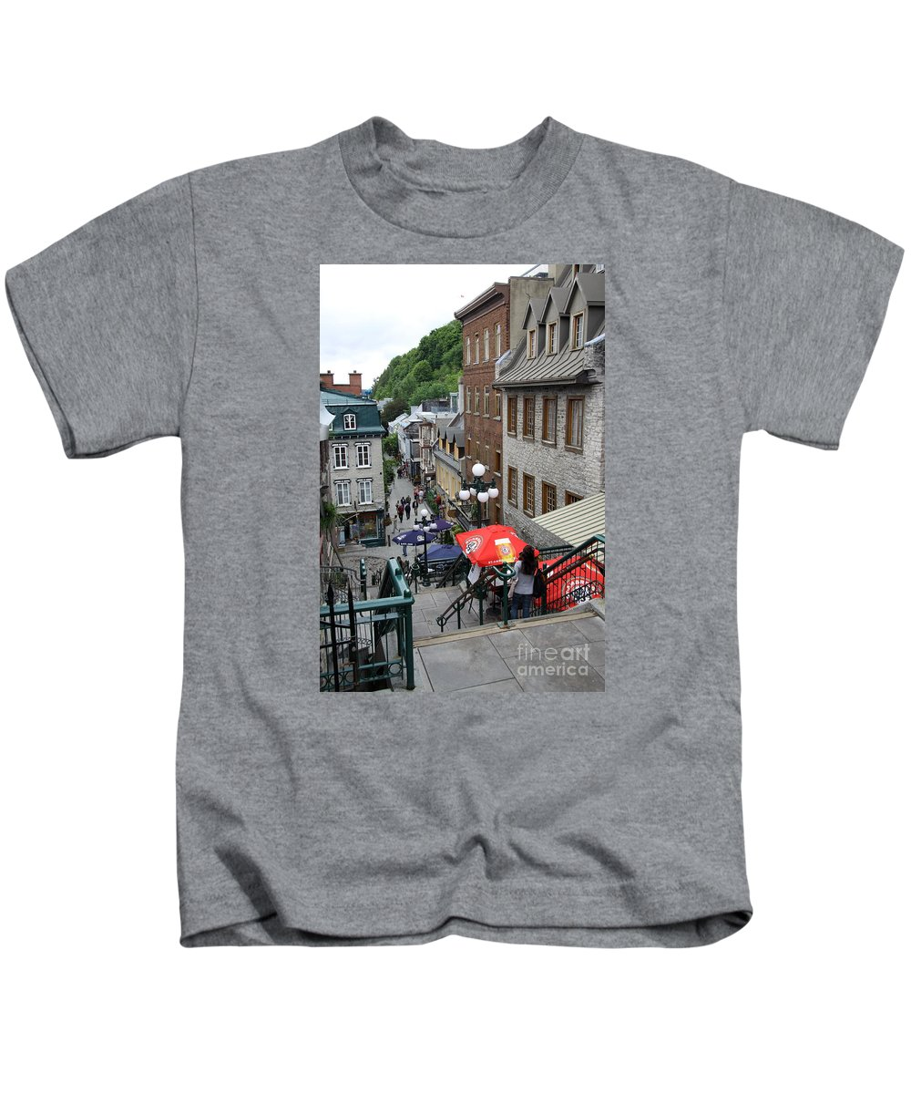 Stairs Kids T-Shirt featuring the photograph Stairs To Oldtown Quebec by Christiane Schulze Art And Photography
