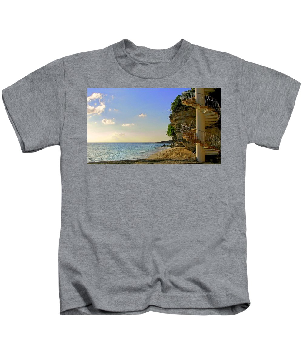 Seascapes Kids T-Shirt featuring the photograph Stairway To The Sea by Karen Wiles