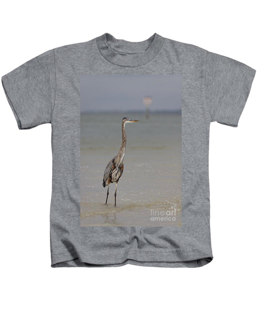 Great Blue Heron Kids T-Shirt featuring the photograph Standing Tall by Rick Kuperberg Sr