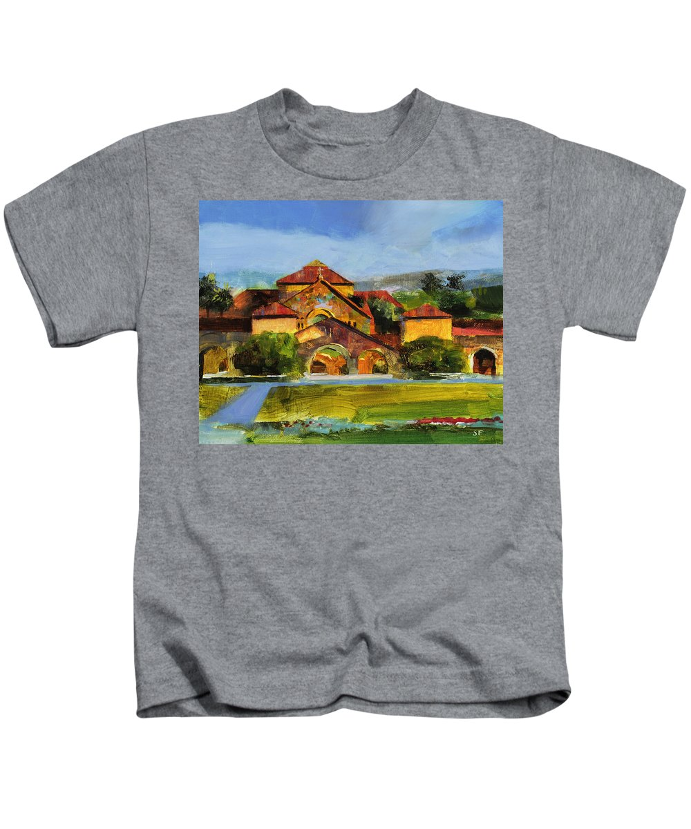 Stanford Kids T-Shirt featuring the painting Stanford Chapel by Stan Fellows