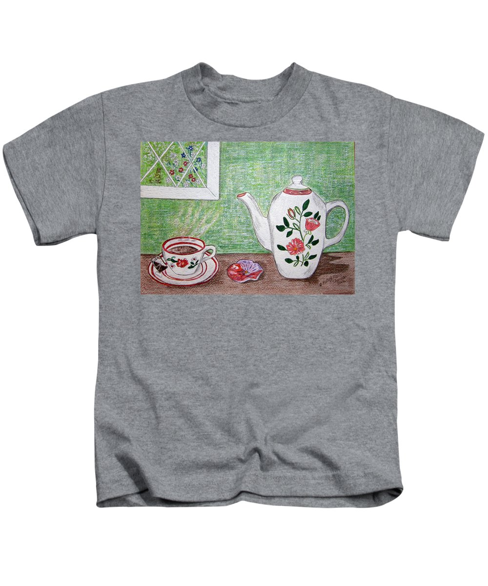 Stangl Pottery Kids T-Shirt featuring the painting Stangl Pottery Rose Pattern by Kathy Marrs Chandler
