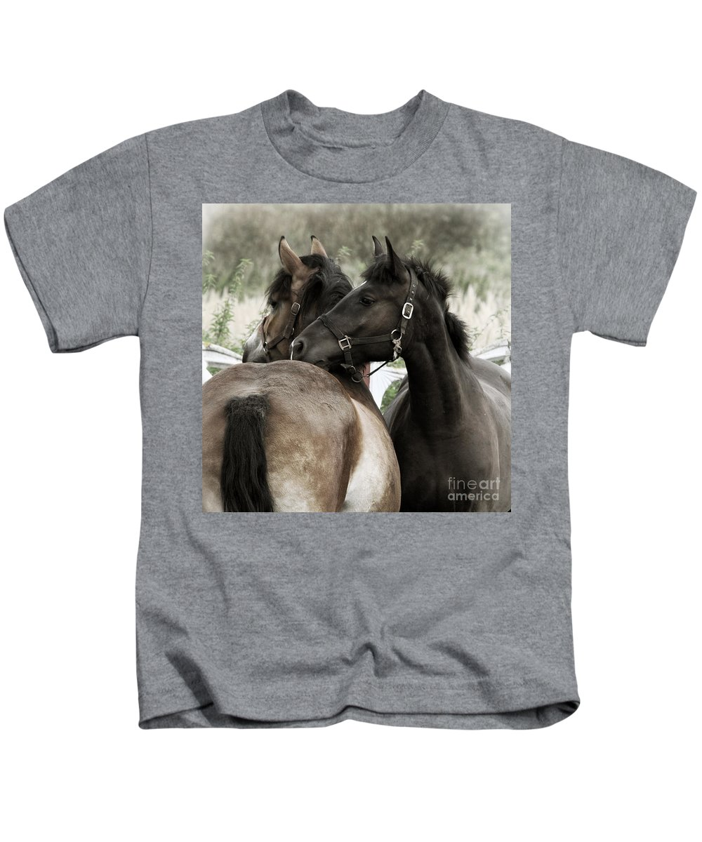 Valentines Kids T-Shirt featuring the photograph Staying Together by Angel Ciesniarska
