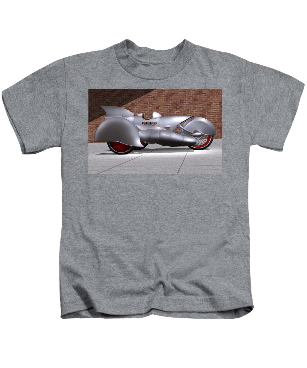 Motorcycle Kids T-Shirt featuring the digital art Steam Turbine Trike by Stuart Swartz