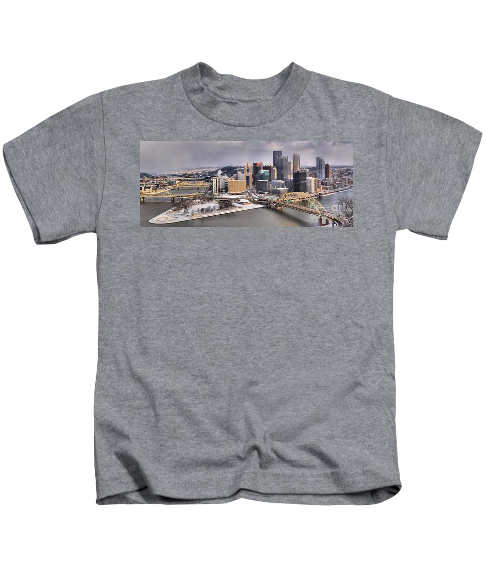 Pittsburgh Skyline Kids T-Shirt featuring the photograph Steel City Storm Clouds by Adam Jewell