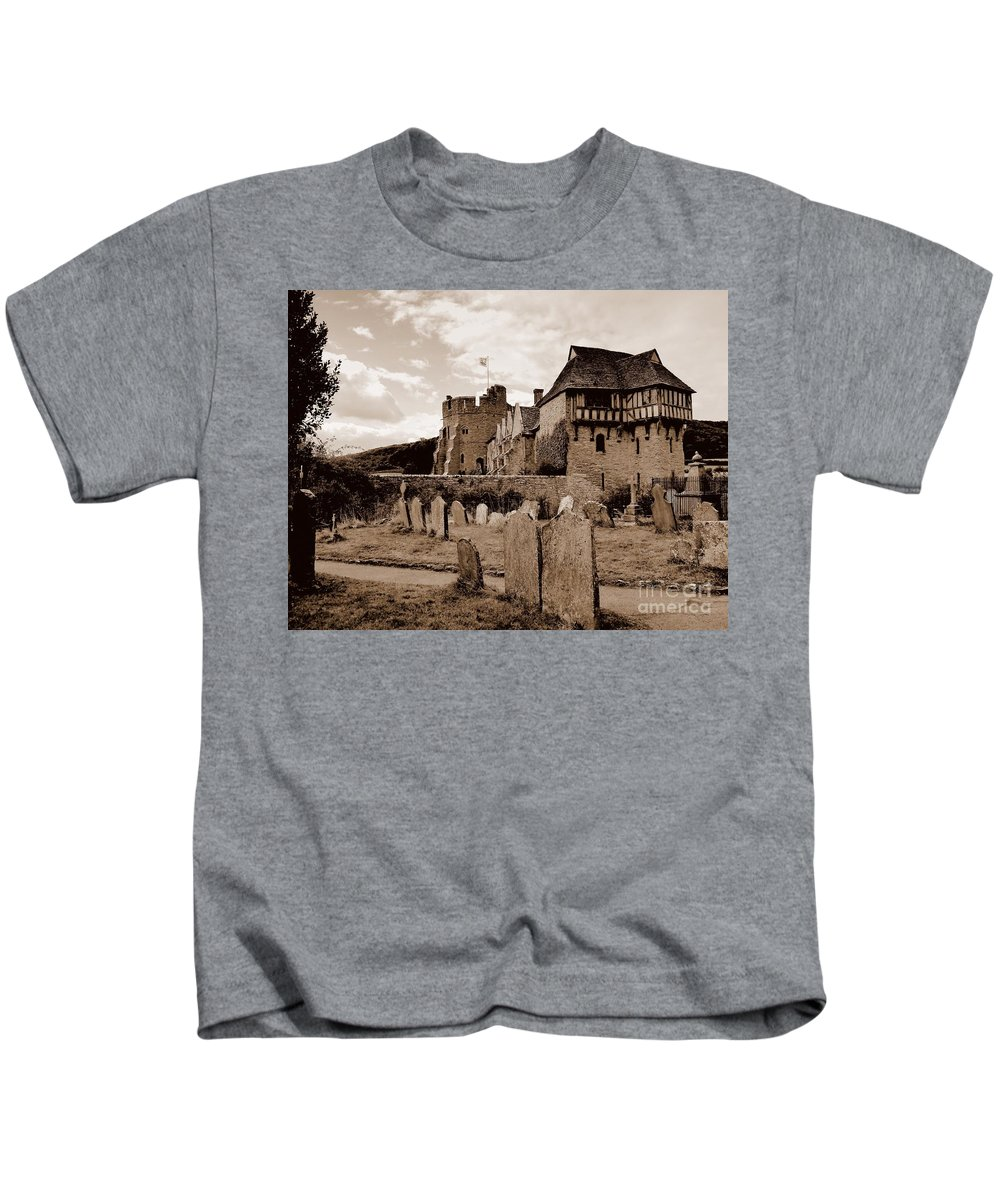 Castle Kids T-Shirt featuring the photograph Stokesay Castle Sepia by John Chatterley