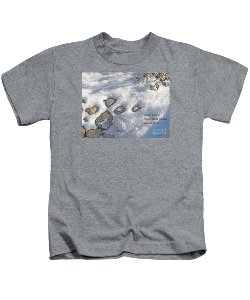 Christmas Kids T-Shirt featuring the photograph Stones Waiting by Ann Horn