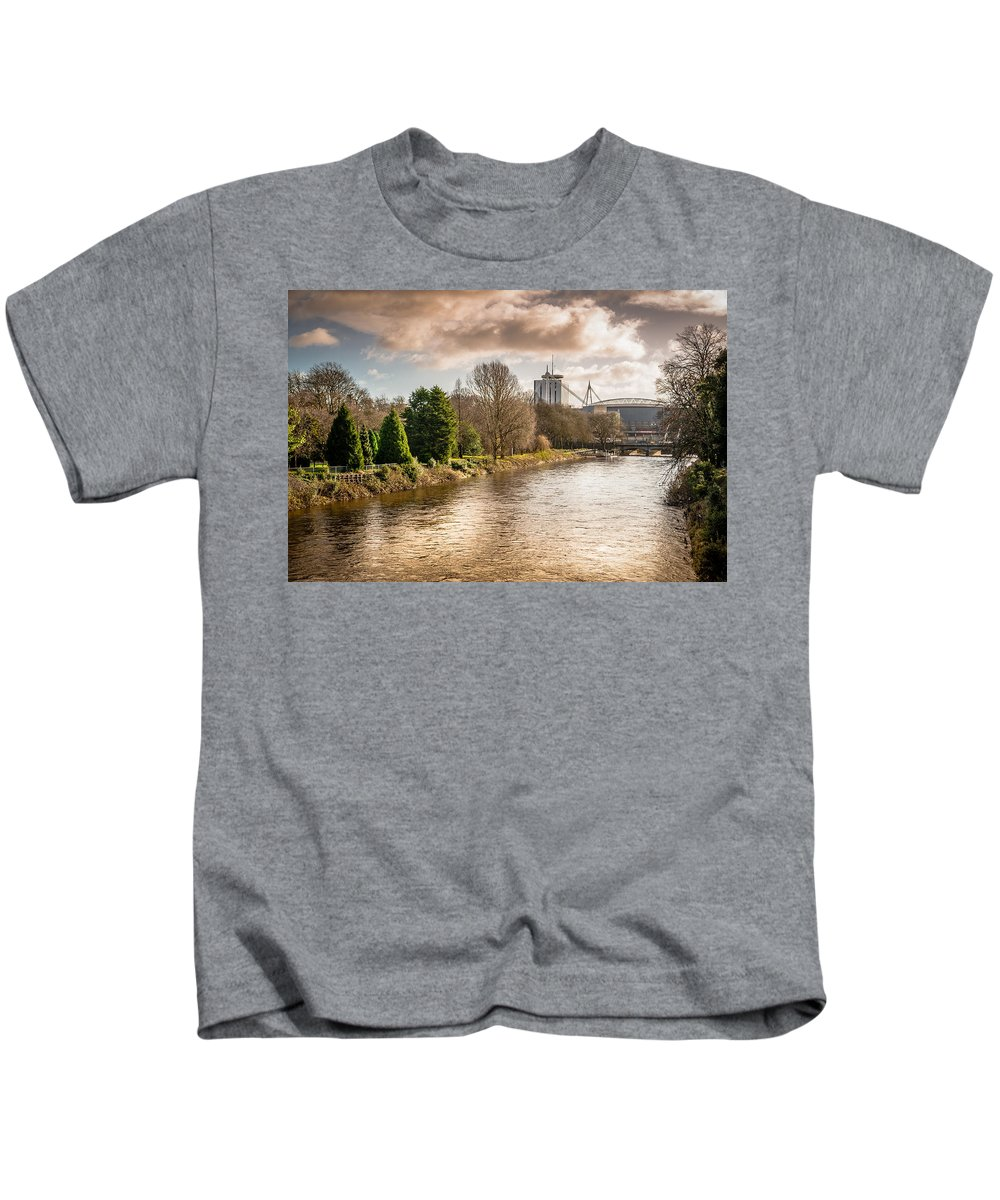 Bute Park Kids T-Shirt featuring the photograph Storm Over The Taf by Mark Llewellyn
