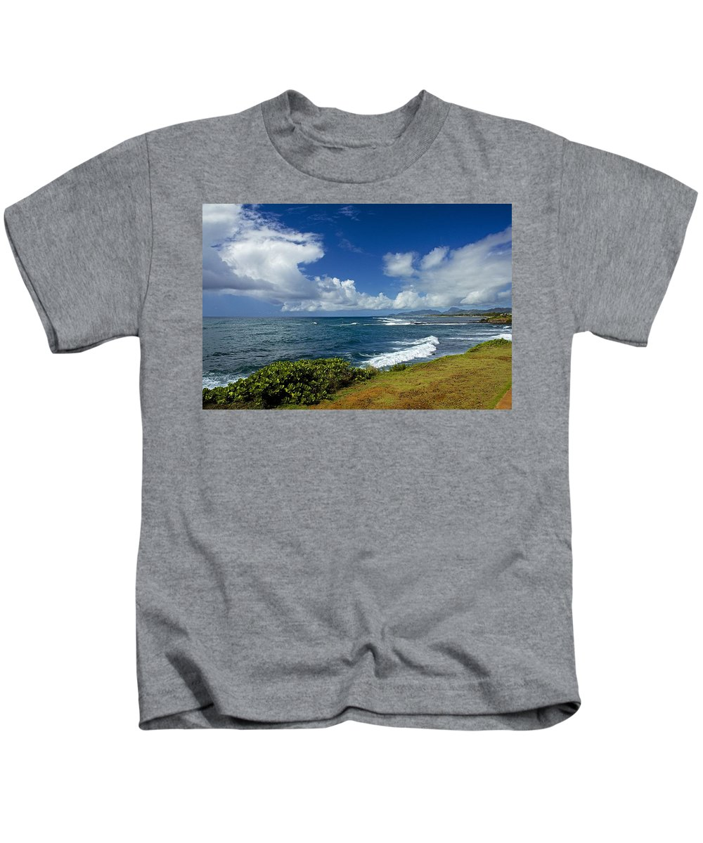 Beaches Kids T-Shirt featuring the photograph Stormy Day At The Beach by Barbara Zahno