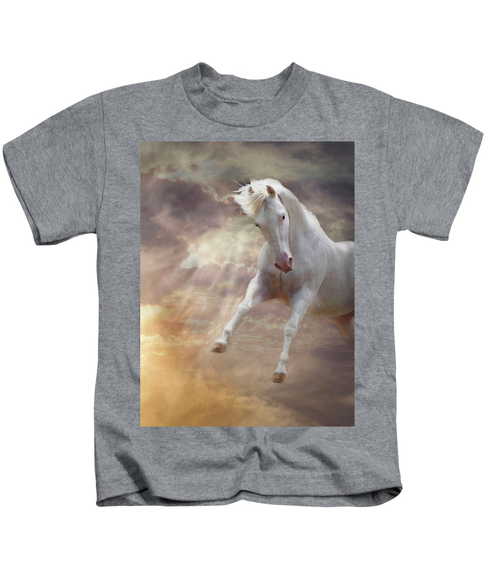 White Quarter Horse Kids T-Shirt featuring the photograph Stormy by Melinda Hughes-Berland